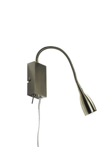 Dar Uno Led Flexi Reading Lt Antique Brass Plug In UNO0775